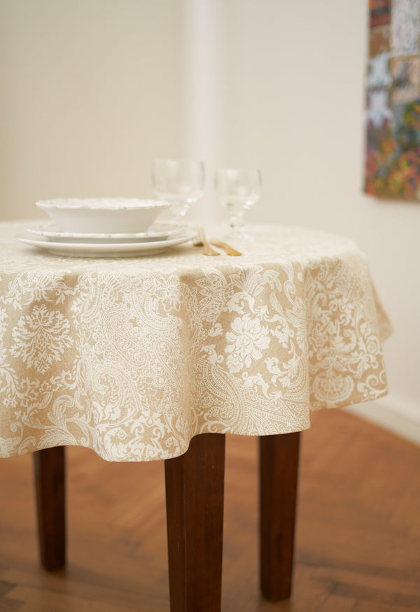 Round Eastern Motif Pattern Tablecloth