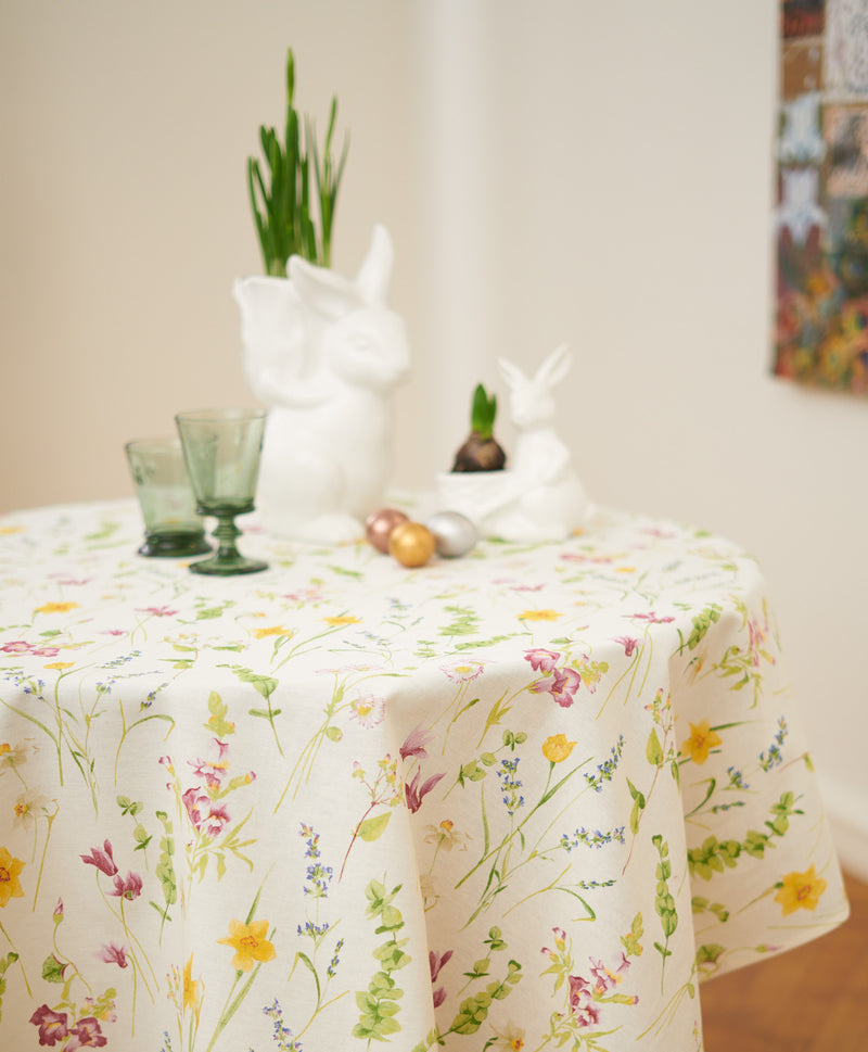 Round Spring Flower Tablecloth