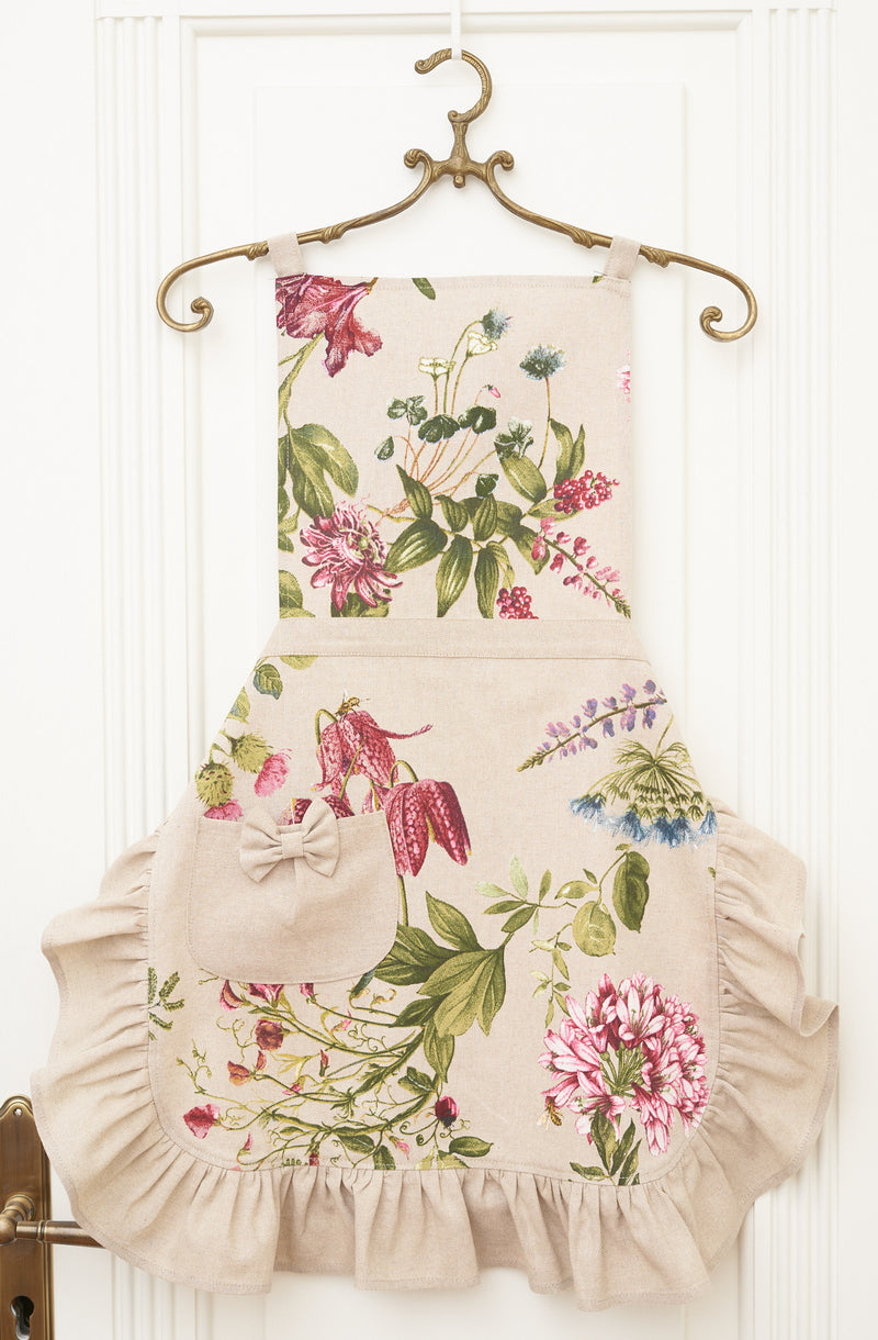 Green and Purple Floral Ladies' Apron with Ruffles