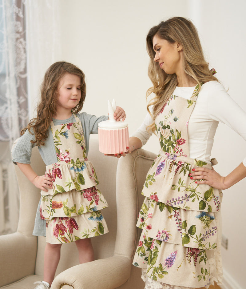 Green Purple Floral Kids Apron
