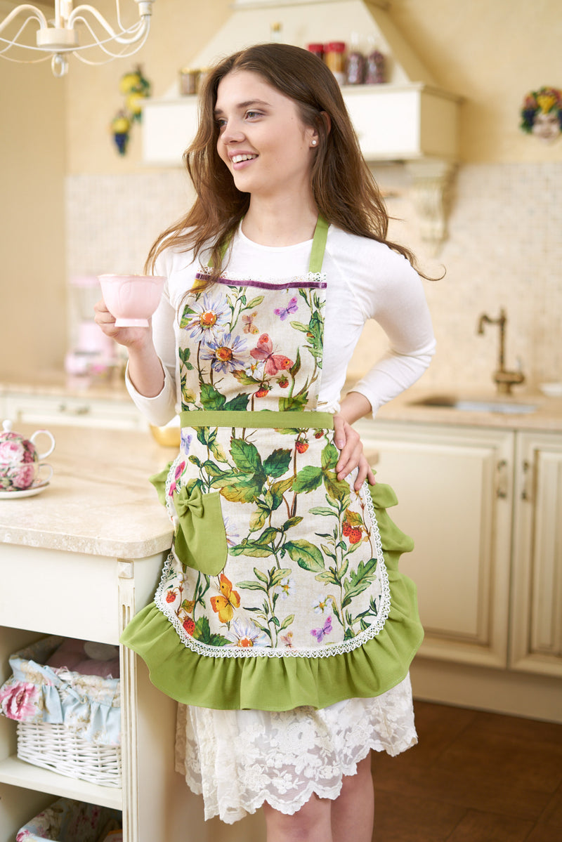 Summer Mood Floral Ladies Apron with ruffles and pocket