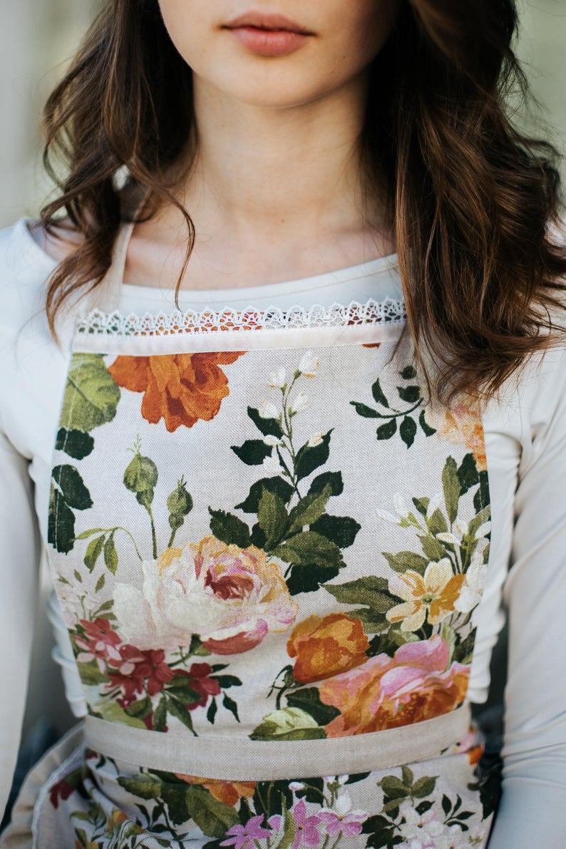 Green Floral Ladies Apron