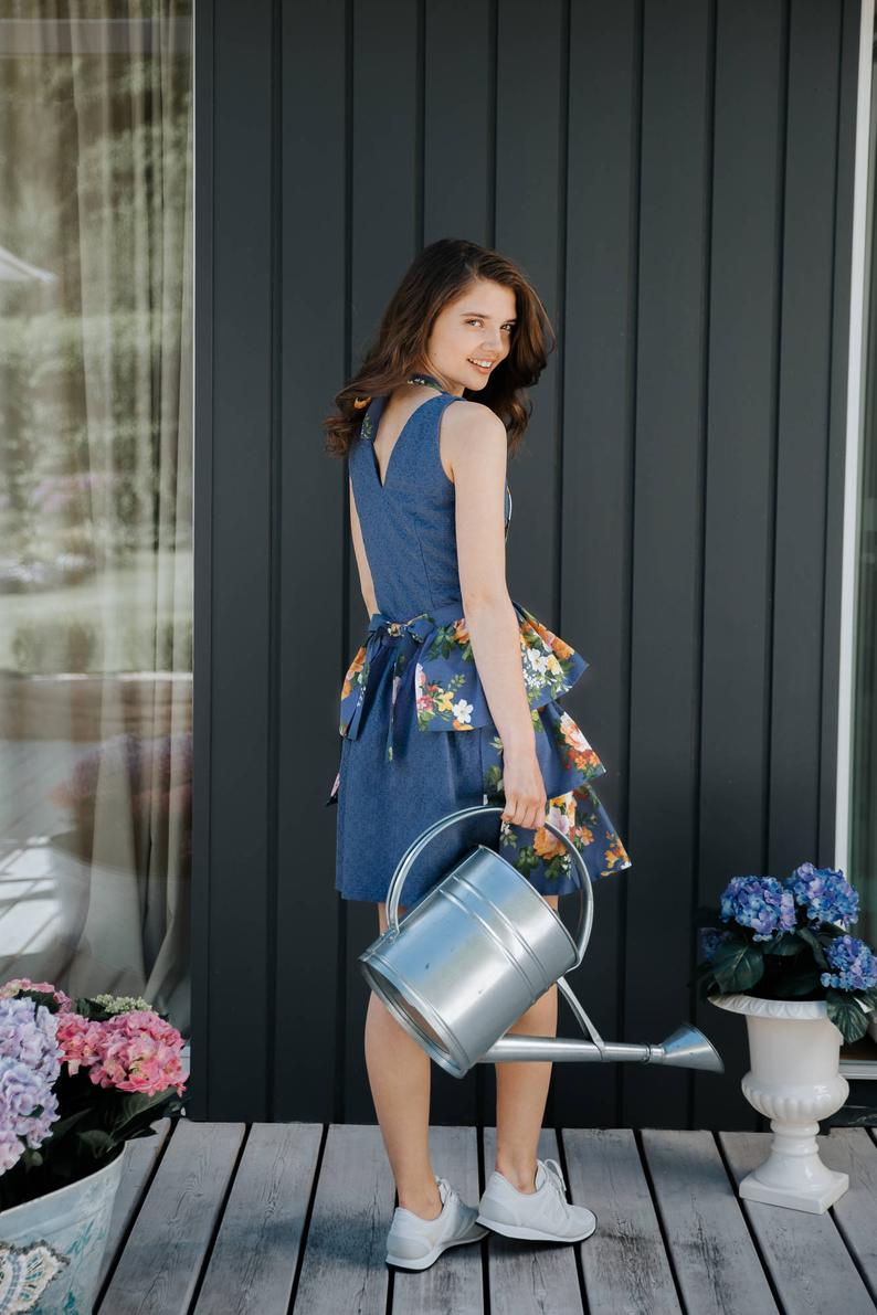 Dark Blue Floral Ladies' Apron