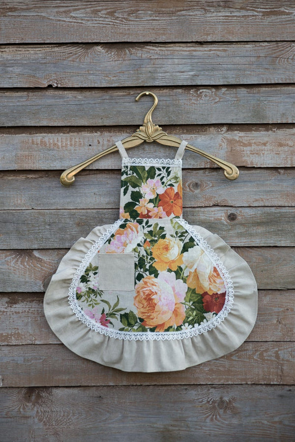 Green Floral Kids Apron