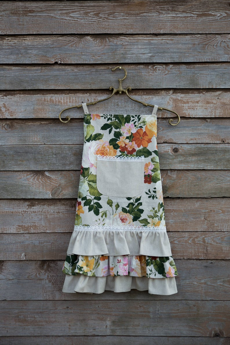 Green Floral Teen Girl Apron