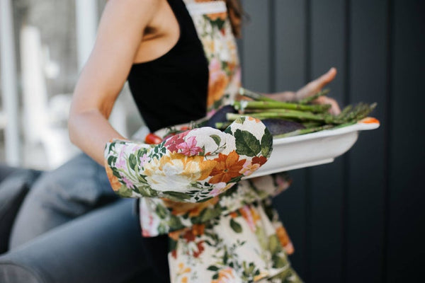 Green Floral Oven Glove