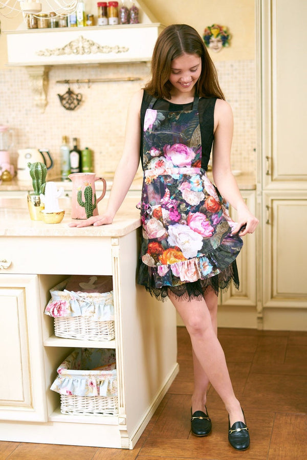 Dark Floral Ladies' Apron With Ruffles