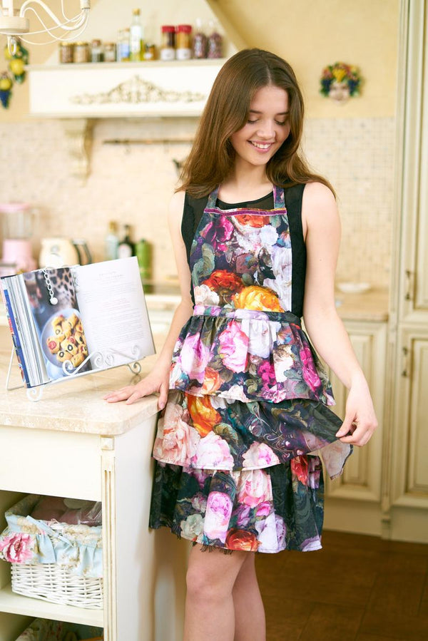 Dark Floral Ladies Apron