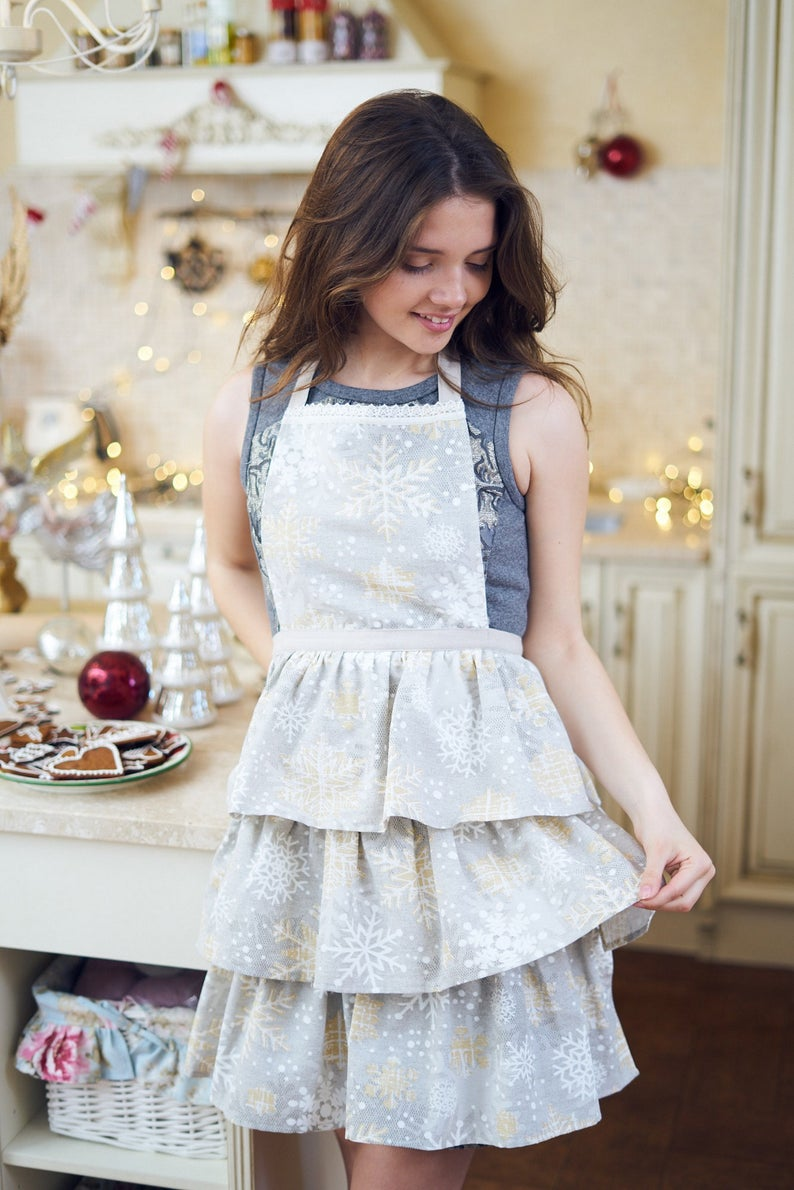 Light Grey Christmas Ladies Apron