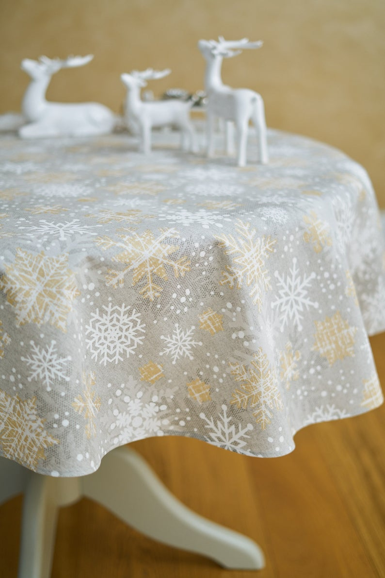 Round Circle Light Grey Tablecloth