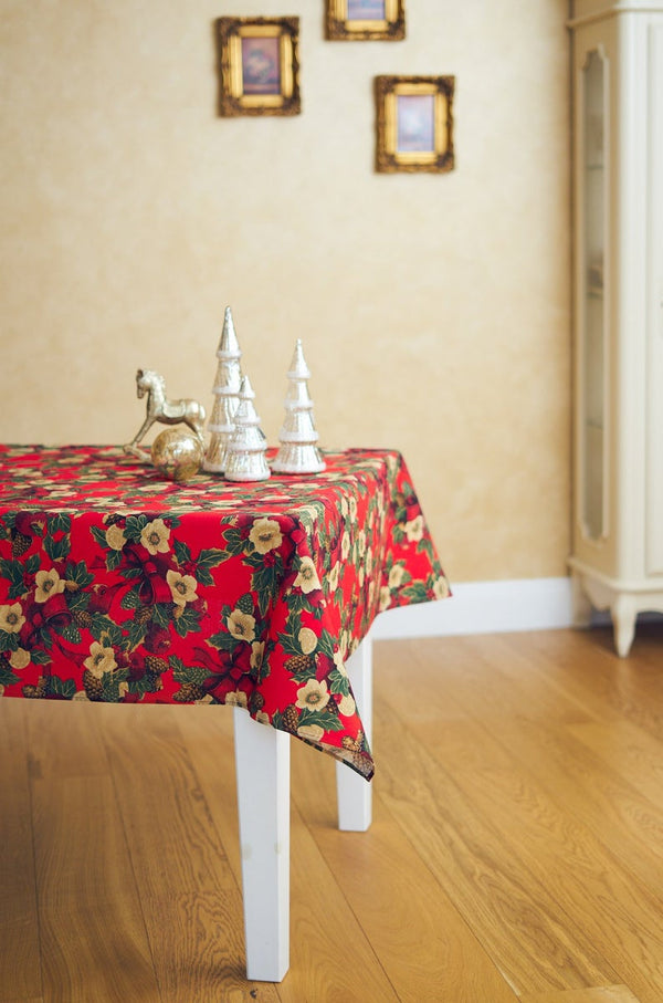 Square Rectangular Red Christmas Tablecloth