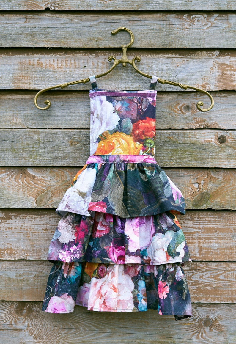 Dark Floral Kids Apron