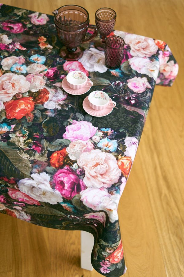 Dark Floral Square Rectangular Tablecloth