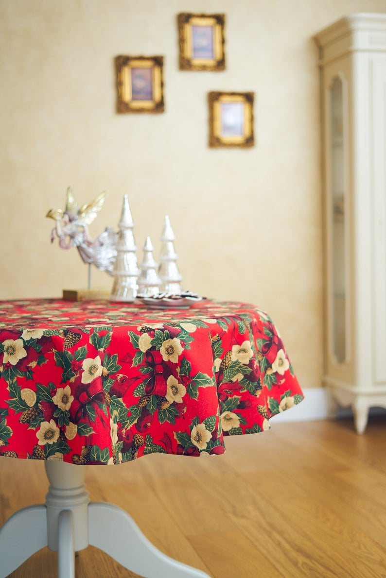 Round Circle Red Christmas Tablecloth