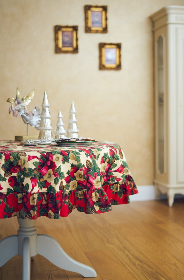 Round Circle Christmas Tablecloth with Ruffle
