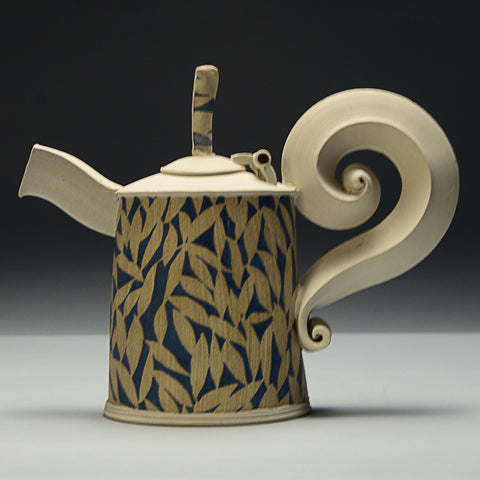 Teapot with Hinged Lid, Green/Blue by Hayne Bayless
