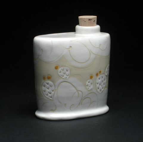 White & Goldenrod Cacti Flask by Julia Walther