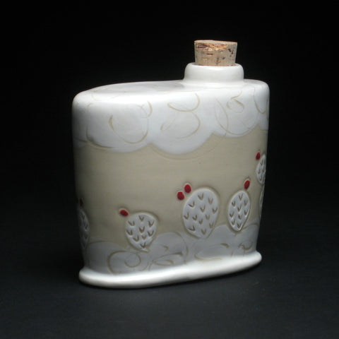 White & Red Cacti Flask by Julia Walther