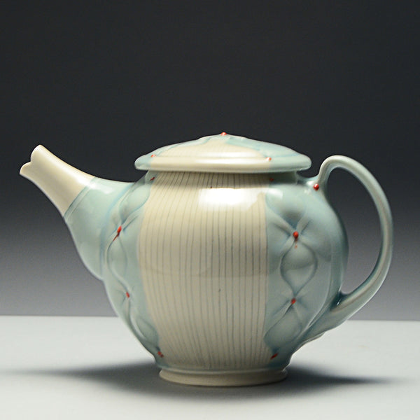 Stamped Petals Resist Glazed Teapot by Jessica Palmer - SOLD
