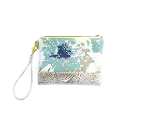 Blue and White Flowered Wristlet