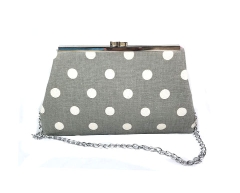 Gray and White Polka Clutch