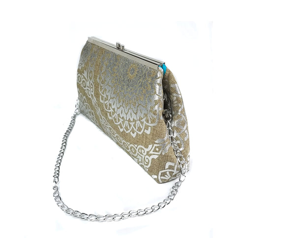 Tan and Silver Clutch