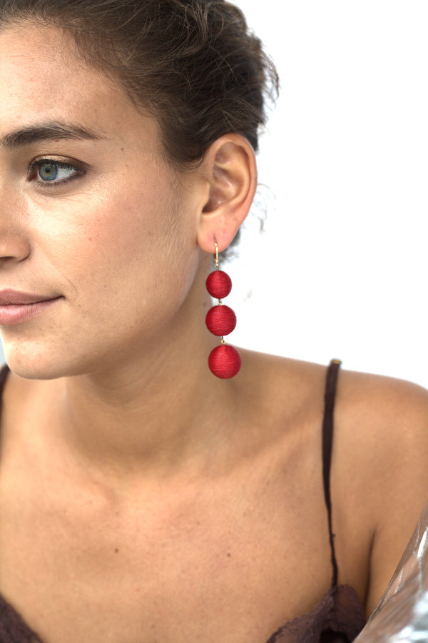 Maxi Lolita Earrings Clasp - Cherry Red