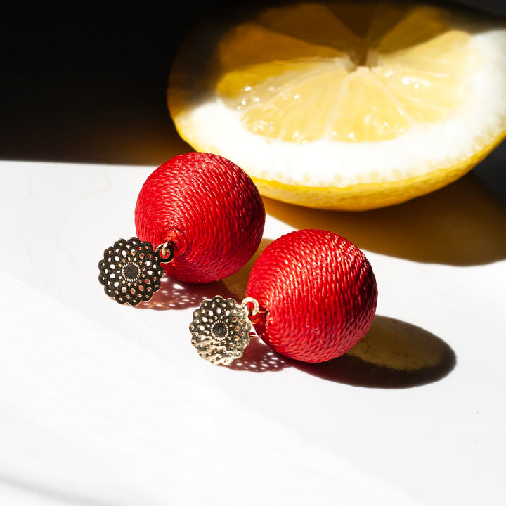 Soli Lolita Earrings Pin - Cherry Red