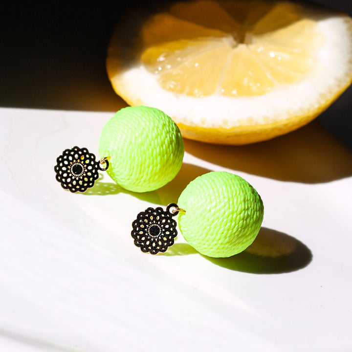 Soli Lolita Earrings Pin - Citrus Yellow
