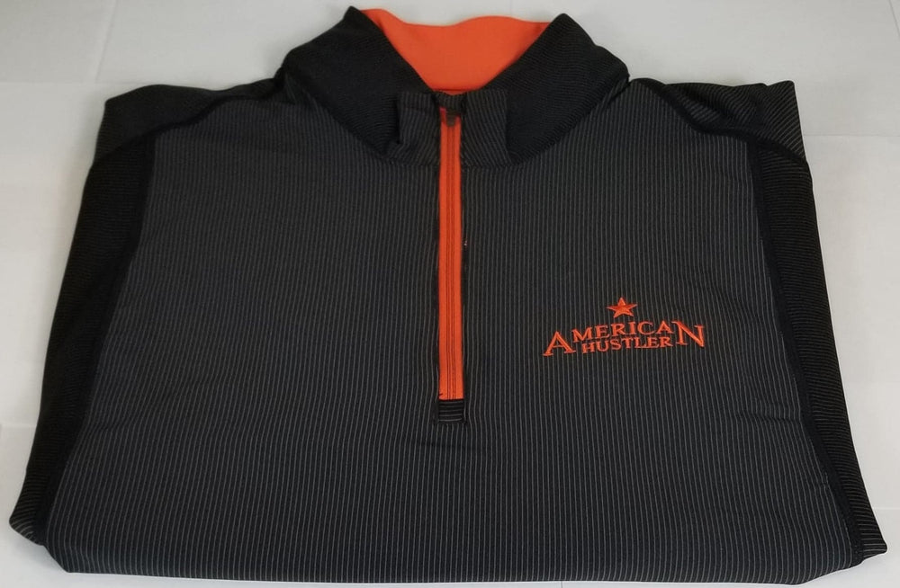 WOMEN'S BLACK-ORANGE QUARTER ZIP JACKET