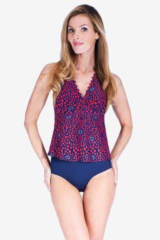 Scallop Laser Cut Women's Halter Tankini Top by Mazu Swim