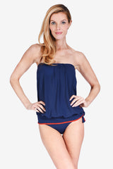 Bandeau Blouson Women's Tankini Top by Mazu Swim