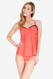 Drape Bandeau Women's Tankini Top w/ Back Detail by Mazu Swim