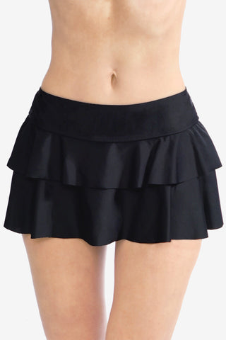 Double Ruffle Women's Swimskirt with Attached Brief by Mazu Swim