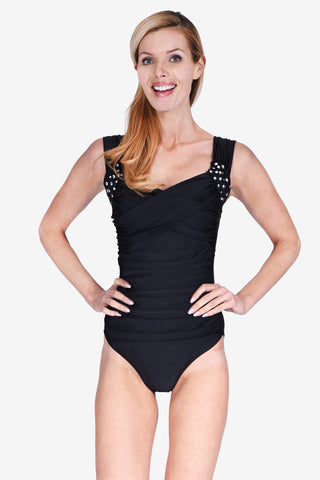 Slimming Crossover Ruched Women's One Piece Maillot Swimsuit by Mazu Swim