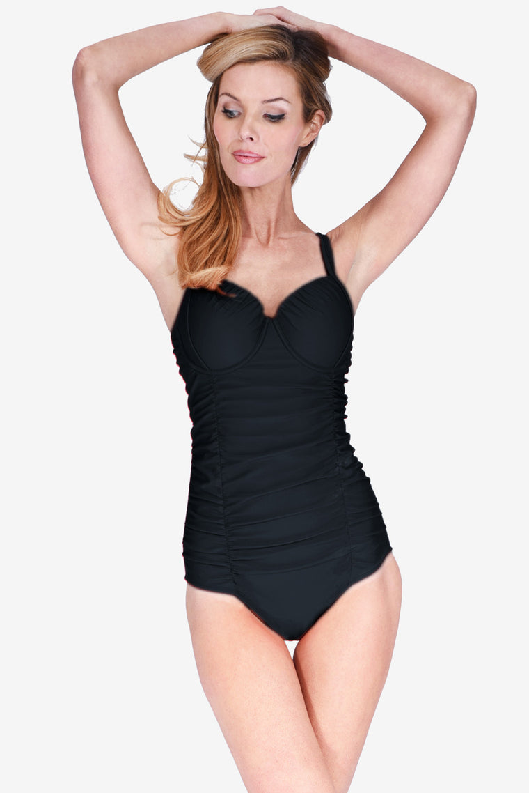 Contour Cup Ruched Women's Underwire One Piece Maillot Swimsuit by Mazu Swim