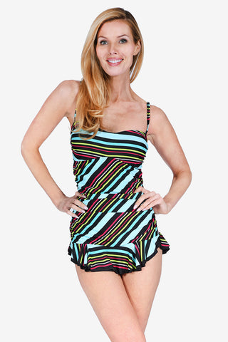 Shirred Women's One Piece Skater Swimdress by Mazu Swim