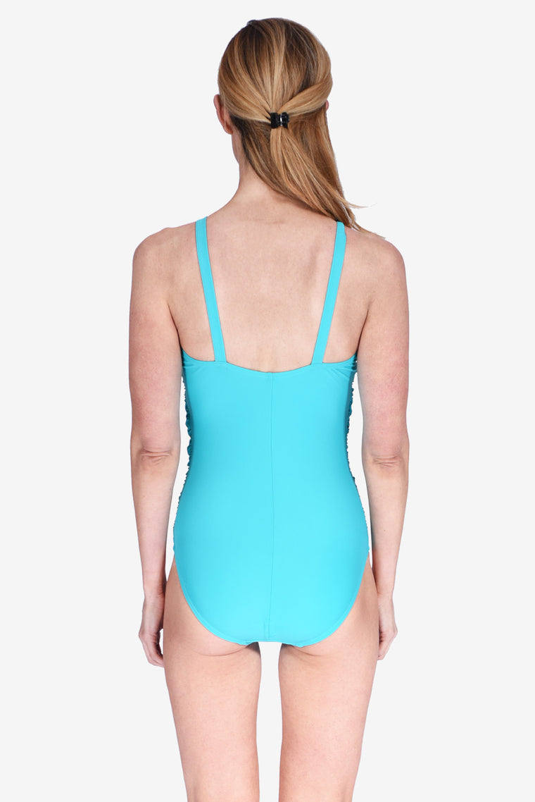 Mesh High Neck Ruched Underwire One Piece Women's Swimsuit Maillot by Mazu Swim