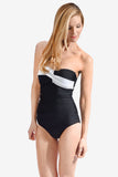 Twist Front Women's Strapless One Piece Maillot by Mazu Swim