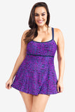 Adjustable Double Strap Women's Plus Size Empire Swimdress by Mazu Swim