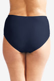 Mid Waist Women's Plus Size Swimsuit Brief Bottom with Power Mesh Panel by Mazu Swim