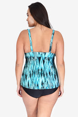 Mesh Triple Tier Women's Plus Size Tankini Top by Mazu Swim