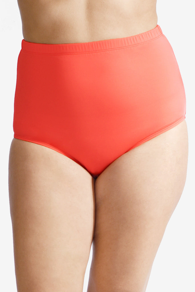 Ultra High Waist Women's Plus Size Swimsuit Brief Bottom with Power Mesh Panel by Mazu Swim