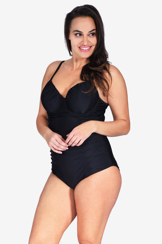 Contour Cup Ruched Women's Plus Size Underwire One Piece Maillot Swimsuit by Mazu Swim
