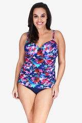 Contour Cup Ruched Women's Plus Size Underwire Tankini Top by Mazu Swim