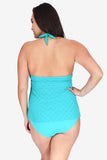 Mesh Wrap Women's Plus Size Halter Tankini Top by Mazu Swim