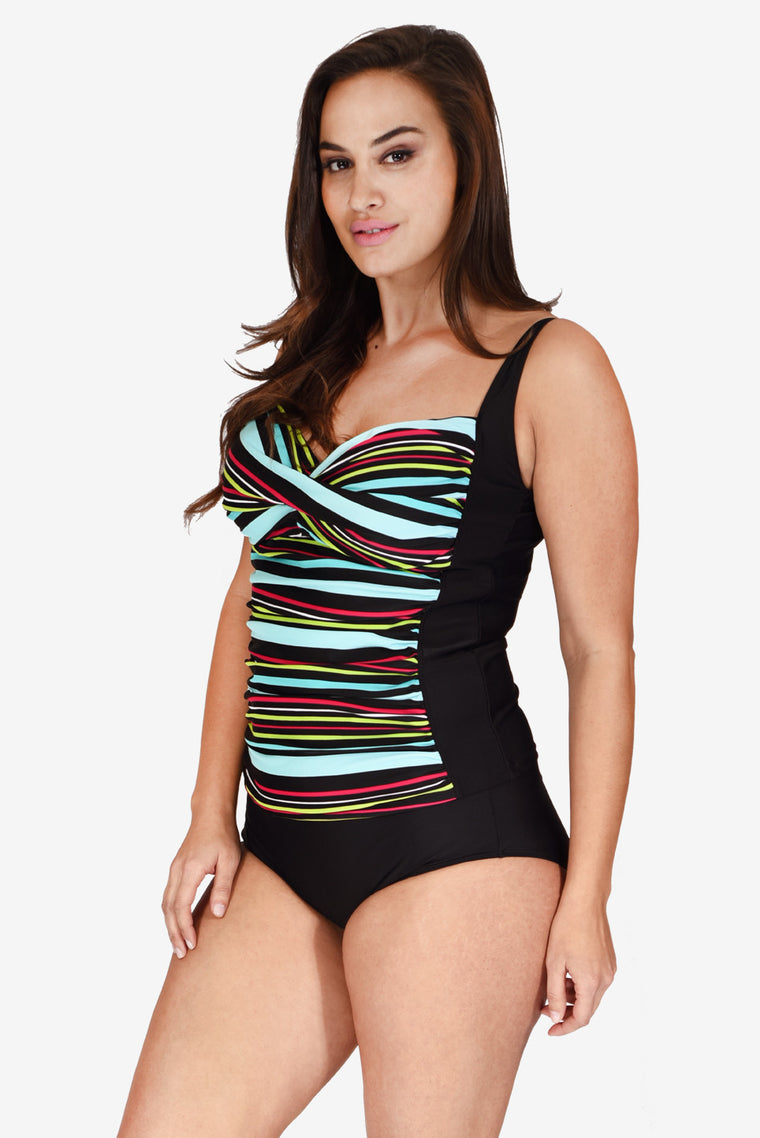 Ruched Twist Front Women's Plus Size Tankini Top by Mazu Swim
