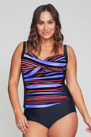 5f94243434661 Ruched Twist Front Women s Plus Size Tankini Top by Mazu Swim