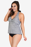 Scallop Laser Cut Women's Plus Size Halter Tankini Top by Mazu Swim