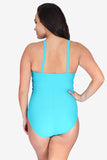 Mesh High Neck Ruched Underwire One Piece Women's Plus Size Swimsuit Maillot by Mazu Swim
